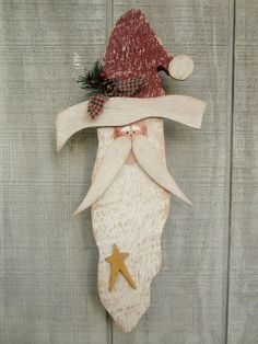 Country Primitive Hanging Wood Santa Holiday Home by LnMPrimitives, $17.00