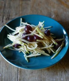 Apple and pear slaw.  Would be great with some grilled pork.  May substitute the grapes for dried berries though.