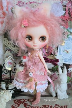 Sweet, precious pink custom Middie Blythe doll