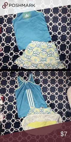 Adidas girls size 5 athletic outfit euc! Light weight tank and skort/skirt under! Made by adidas.. girls size 5 adidas Matching Sets