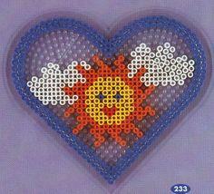 Heart sun hama perler pattern