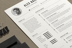 Alex Resume by Estartshop on @creativemarket Professional, modern, stylish and creative resume design template for your new job. Use this simple ready to use layout – only add a picture, your profile and your skills – or grab some ideas.