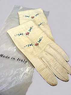 Vintage White Kid Leather Gloves Embroidered Flowers. 1960s Made in Italy . Super Soft on Etsy, $5.50