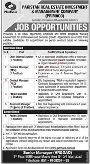 Primaco Jobs 2017 Pakistan Real Estate Investment & Management Company Latest  www.primaco.com.pk  vacancies / Positions:-  Chief Internal Auditor  General manager REM  Generla Manager P&C  Project Director  Assistant Manager projects  Locations: Islamabad & Lahore  Last Date:  3 April 2017