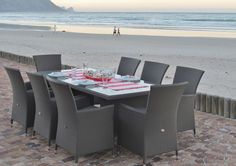 Take the party outside! Create an inviting outdoor dining area by Carme Classic outdoor 8 seater table and chairs. Outdoor Dining, Outdoor Decor, Dining Area, Go Outside, Table And Chairs, Terrace, Outdoor Furniture Sets, Patio, Classic