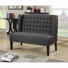 Dark Grey Tufted Upholstered Banquette Bench