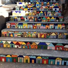 Magical Homestead — Mosaic stair risers- aren't these cute?You can find Mosaic garden and more on our website.Magical Homestead — Mosaic stair risers- aren't these cute? Mosaic Glass, Mosaic Tiles, Stained Glass, Mosaic Mirrors, Mosaic Pots, Mosaic Wall Art, Glass Art, Mosaic Crafts, Mosaic Projects