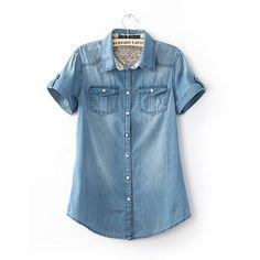 2014 modelos femeninos de verano de manga corta de color claro clásico solapa solo pecho camisa de mezclilla de la vendimia del envío libre