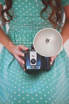 Heart... polka dots + vintage camera