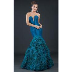 Rachel Allan 8017 Evening Dress Long Strapless Sleeveless ($898) ❤ liked on Polyvore featuring dresses, formal dresses, peacock, long evening gowns, long evening dresses, blue gown and formal evening gowns