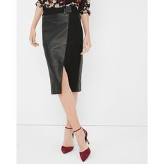 White House Black Market Leather And Suede Pencil Skirt ($172) ❤ liked on Polyvore featuring skirts, suede pencil skirt, wrap skirt, knee length leather skirt, leather wrap skirt and leather skirt