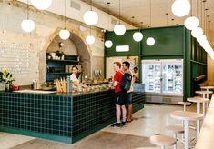 First Look: Piccolina's Polished New Collingwood Gelato Temple - Broadsheet Restaurant Counter, Cafe Restaurant, Bakery Design, Cafe Design, Juice Bar Interior, Bar Tile, Kids Cafe, Counter Design, Coffee Shop Design