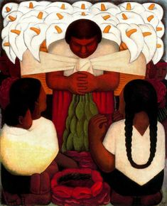 Diego Rivera - Flower Festival 1936 when diego rivera returned to his native country he was consumed in mexican and indigenous customs and traditions and decided to make it the center of hia artwork.