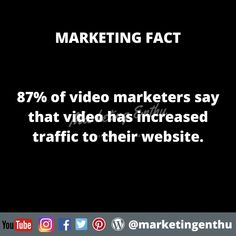 From about marketing fact we can understand that video marketing is one of the strongest way to increase the traffic to your website. To support this statment, 87% of video marketers say that video has increased traffic to their website. Source: (Wyzowl, 2020) #marketingenthu #marketingenthufacts #marketingstatistics #videomarketing #videomaker #videomarketers #wyzowl #websitetraffic #userstatistics #marketingfacts #statistics #traffic #video #videostreaming #visualcontent Statistics, Acting, Facts, Marketing, Website, Sayings, Youtube, Lyrics, Youtubers