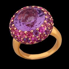 18K Rose Gold Ring with Round Amethyst (8.6ct) , Pink Sapphires (1.55cttw) and Pink Tourmaline (1.25cttw) all prong set Width 18mm