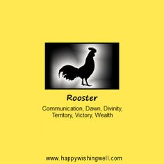 Spirit of Rooster, a link to info about the Rooster or Cockerel animal spirit guide or totem animal, and its meanings in nature and myth. http://www.happywishingwell.com/madamhelga/rooster.html .