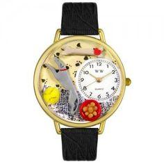 Greyhound Black Skin Leather And Goldtone Watch