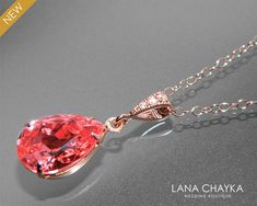 Rose Gold Crystal Necklace Swarovski Rose Peach by LanaChayka Prom Necklaces, Prom Jewelry, Coral Jewelry, Jewelry Gifts, Teardrop Necklace, Crystal Necklace, Gold Necklace, Bridesmaid Earrings, Bridal Earrings