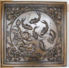 Excellent handcraft square Shape Wood Carving,fish,water lily Chinese Old ART 24