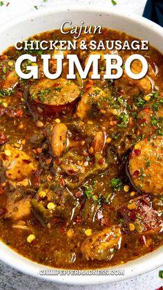 Chicken Gumbo Recipes, Crockpot Gumbo Recipe, Cajun Gumbo Recipe, Recipe For Chicken And Sausage Gumbo, Spicy Gumbo Recipe, Chicken Gumbo Soup, Creole Recipes, Cajun Recipes, Soup Recipes