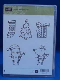 Stampin-039-Up-Color-Me-Christmas-Tree-Santa-Reindeer-Gift-Set-of-5-Stamps-NIB