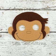 Curious Monkey Mask - Monkey Mask - Monkey - Animal Mask - Jungle Mask - Monkey Costume - Monkey Party - Dress up - Easter - Easter Basket Monkey Mask, Pet Monkey, Curious George Costume, Monkey Costumes, Felt Mask, Animal Masks, Diy Mask, Diy Toys, Easter Baskets