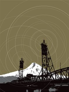 """Transmission - art print (PDX in the music city series) 18""""X24"""" 4-color screenprint on French Speckletone Olive $40"""