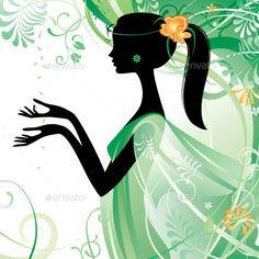 Raster version of vector girls silhouette in green