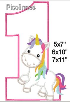Steph, wish I'd seen this before Kendall's bday 1 Birthday Fairytale Unicorn Machine Applique by Picolinnes4Kids