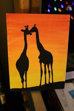 Kissing Giraffes framed canvas.