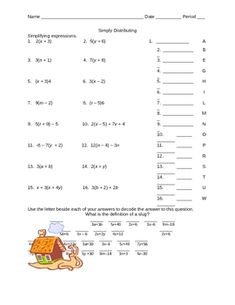 Algebra Worksheet- Distributive Property | Middle School Math ...