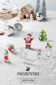 Welcome the holidays into your home with this sparkling collection from Swarovski. Get your gift today at Aventura Mall, in Miami. Christmas Time Is Here, All Things Christmas, Christmas Home, Vintage Christmas, Christmas Holidays, Christmas Decorations, Xmas, Christmas Ornaments, Holiday Crafts