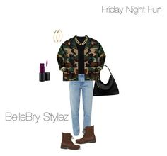 """""""Friday Night Fun"""" by ateirrahbrynae on Polyvore featuring M.i.h Jeans, Hollister Co., Theory, Rothco, Pieces, House of Harlow 1960, Michael Kors and MAC Cosmetics"""