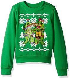 d4800f93ea Amazon.com  Nickelodeon Boys  Teenage Mutant Ninja Turtles Xmas  Long-Sleeved Crew Sweatshirt  Clothing