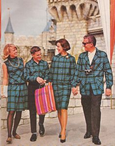 Promotional photo for Pendleton wool, shot at Disneyland, 1960s.  I guess it would be easy to find each other.