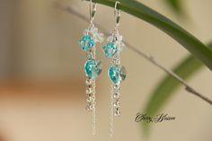 Boucles d'oreilles en argent 925 avec cristaux et chaine Swarovski turquoise…