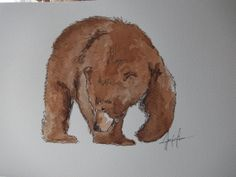 Grizzly bear in watercolour... he's SO FLUFFY!!! #art #watercolour #bear #grizzly