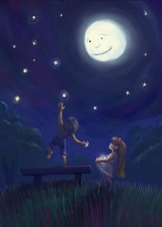 Stars From The Night Sky Picture illustration, children, fantasy, love) Adorable Petite Fille, Digital Art Gallery, Illustration Mode, Illustration Children, Art Illustrations, Moon Pictures, Moon Magic, Beautiful Moon, Beautiful Life