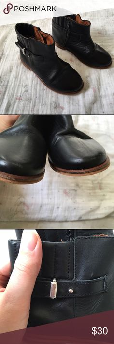 """Zara Toddler Leather Booties Only worn a few times. VVGUC. Minor scuffs on the toes that could be polished away. Normal wrinkling on the leather. One of the buckles has some scrapes. Soles are still in amazing shape. These are an incredibly made and lux in look and feel. Euro size 24 - soles measure 5 7/8"""". Zara Shoes Boots"""