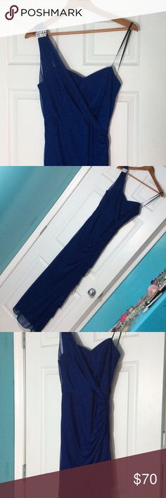 NWT Blondie nites Royal Blue Gown NWT Blondie nites Royal Blue Gown. One shoulder with rhinestone embellishment on shoulder. Side zipper. Fully lined. Blondie Nites Dresses One Shoulder