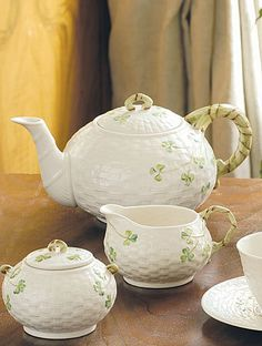 Belleek Shamrock Teapot ~ Shamrock Tableware, with its basket weave, is a timeless design first created in the 1880's.