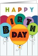 Happy Birthday Typography Bright Colored Balloons