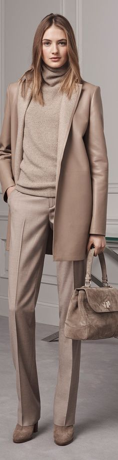 Ralph Lauren Pre Fall 2016 gorgeous taupe outfit- chocolate pearls would be perfect around the neck.