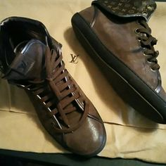 Authentic Louis Vuitton sneakers Brown suade high top sneakers. Slightly worn, comes with dust bag. Excellent conditions. Louis Vuitton Shoes Sneakers