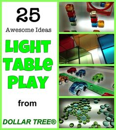 25 Awesome Idea for Light Table Play from Dollar Tree | See all of our therapy pins at @SpectrumPsych