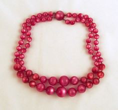 Fuchsia Moonglow Lucite Beads Necklace by GrapenutGlitzJewelry