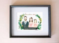 Customized family portraits, family illustration, personalized family portraits