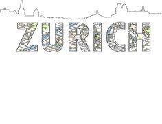 Silueta de skyline y Mapa de Zurich
