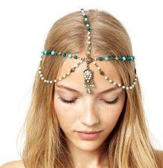 Boho Handmade Rhinestone Blue Beads Pearl Gold Head Chain Headband Headpiece Hair band Hair Jewelry FREE SHIPPING