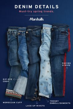 Marshalls is your go-to destination for 2018 denim trends — stock up on details for days! Try a new twist on your everyday denim with a racing stripe or dip-dye crop. Let your free spirit soar with trendy embellishments or a Moroccan cuff. You can't go wr Mode Country, Diy Fashion, Fashion Design, Fashion Trends, Jean Crafts, Racing Stripes, Denim Trends, Marshalls, Spring Trends